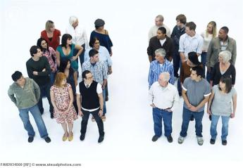 Two groups of people divided